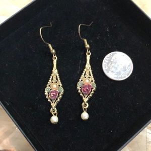 Vintage Rose Gold Pearl Enamel Dangle Earrings